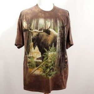 The Mountain Brown Tie Dye Graphic Moose T Shirt